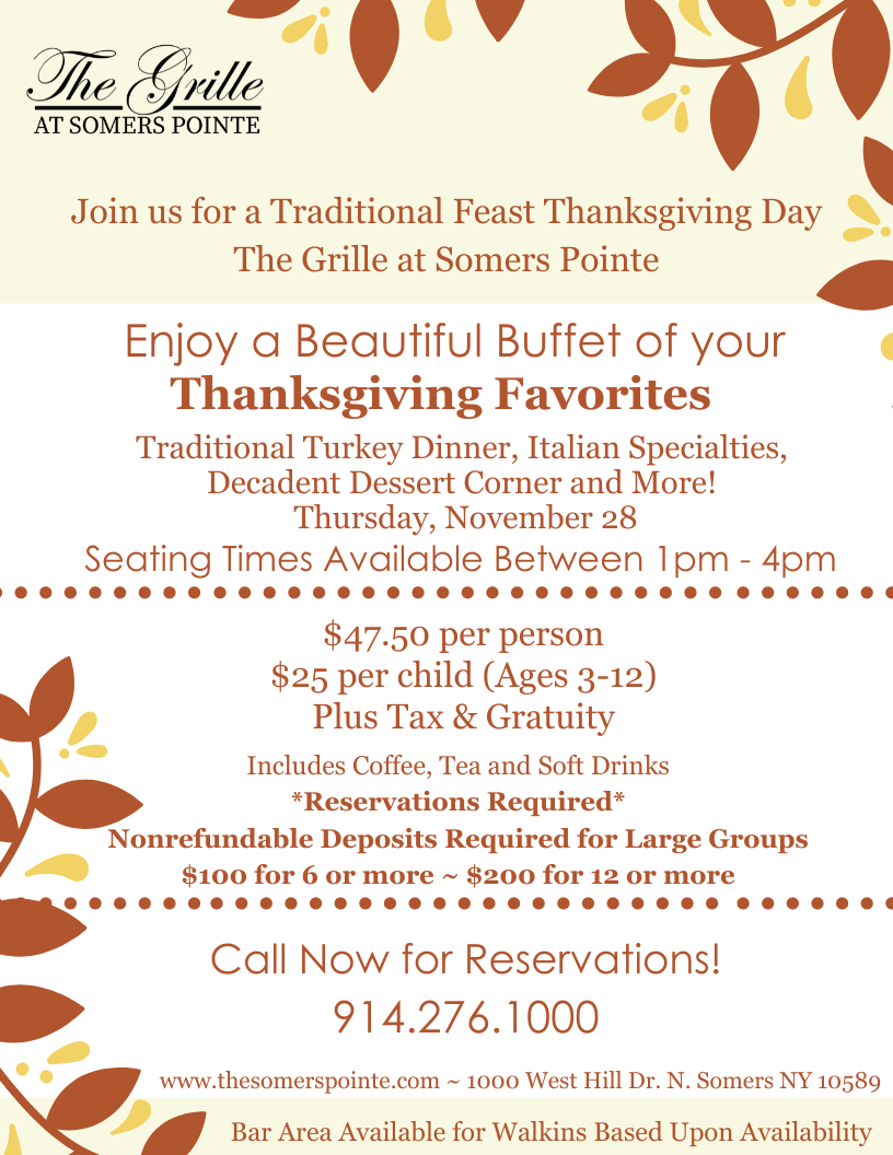 Thanksgiving Buffet Event Details- - The Somers Pointe & The Grille at Somers Pointe